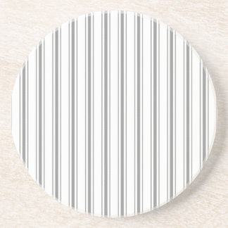 Narrow Stripe Charcoal Gray White Mattress Ticking Coaster