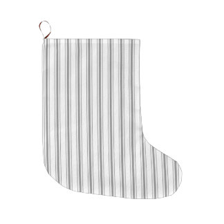 Narrow Stripe Charcoal Gray White Mattress Ticking Large Christmas Stocking