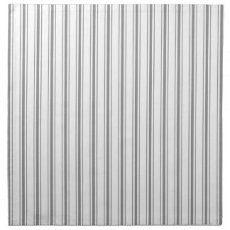 Narrow Stripe Charcoal Gray White Mattress Ticking Napkins