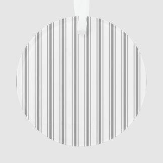 Narrow Stripe Charcoal Gray White Mattress Ticking Ornament