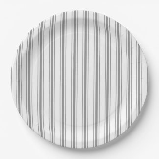 Narrow Stripe Charcoal Gray White Mattress Ticking Paper Plate