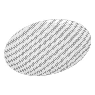 Narrow Stripe Charcoal Gray White Mattress Ticking Party Plate
