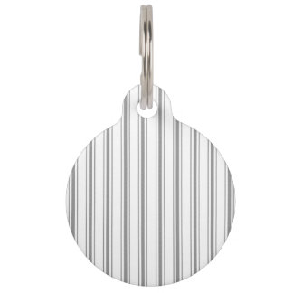 Narrow Stripe Charcoal Gray White Mattress Ticking Pet Tag