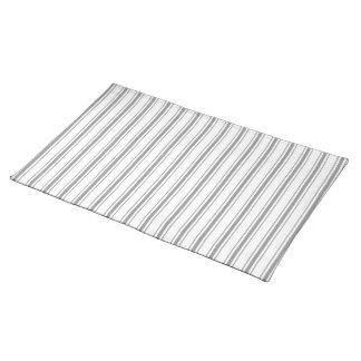 Narrow Stripe Charcoal Gray White Mattress Ticking Placemats