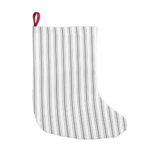 Narrow Stripe Charcoal Gray White Mattress Ticking Small Christmas Stocking