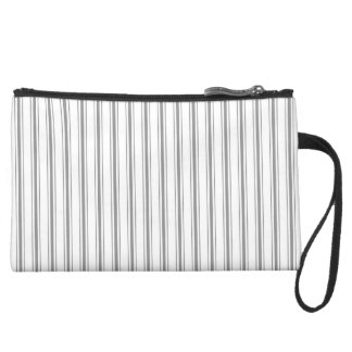 Narrow Stripe Charcoal Gray White Mattress Ticking Suede Wristlet