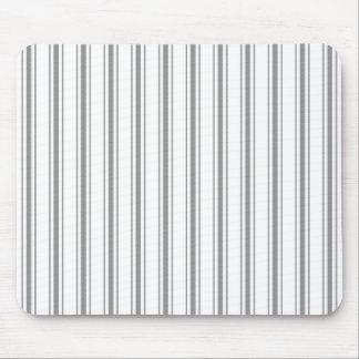 Narrow Stripe Charcoal Grey White Mattress Ticking Mouse Pad