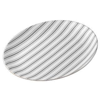 Narrow Stripe Charcoal Grey White Mattress Ticking Plate
