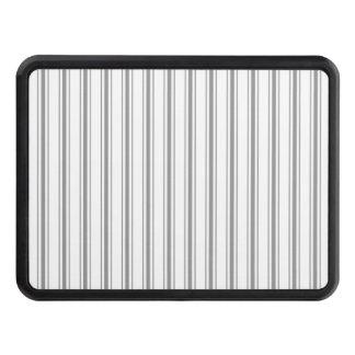 Narrow Stripe Charcoal Grey White Mattress Ticking Trailer Hitch Cover
