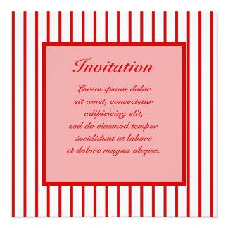 "Narrow Stripe Red + Custom COlor 5.25"" Square Invitation Card"