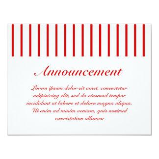 "Narrow Stripe Red + Custom COlor 4.25"" X 5.5"" Invitation Card"