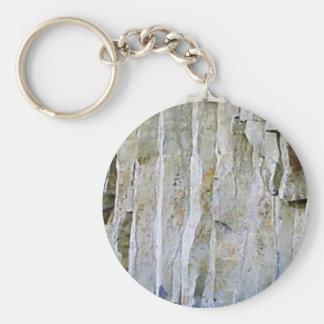 Narrow white rock column keychain