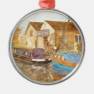 Narrowboat And Boat Builders Yard Silver-Colored Round Ornament