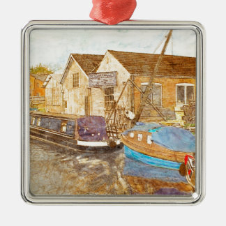 Narrowboat And Boat Builders Yard Silver-Colored Square Ornament