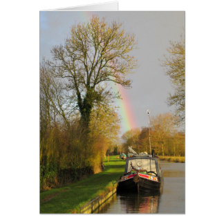 Narrowboat and Rainbow on the Oxford Canal. Card