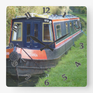 Narrowboat on British Inland Waterways System Square Wall Clock