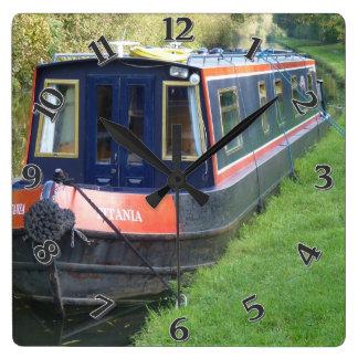 Narrowboat on British Inland Waterways System Wallclock