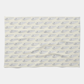 Narrowboat pattern by whacky teatowel kitchen towel
