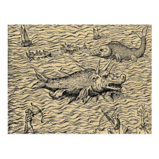 Narwhal and Medieval Sea Monsters Postcard