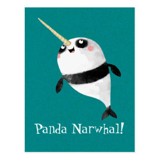 Narwhal and Panda in One Postcard