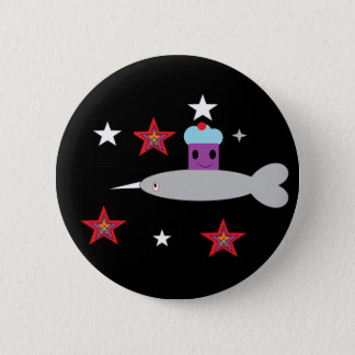 Narwhal and the Space cupcake 2 Inch Round Button