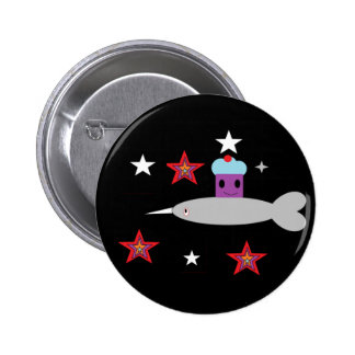 Narwhal and the Space cupcake Button