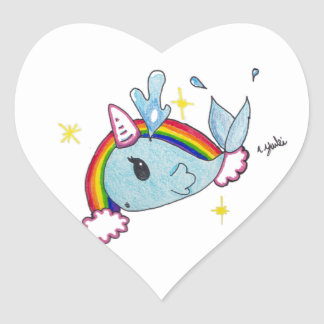 narwhal heart sticker