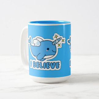 Narwhal I Believe Two-Tone Coffee Mug