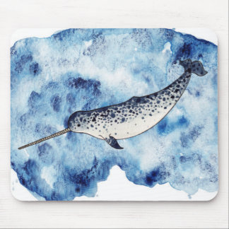 Narwhal in  a splash of watercolour mouse pad