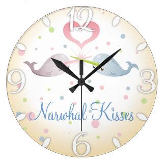 Narwhal Kisses Custom Large Clock