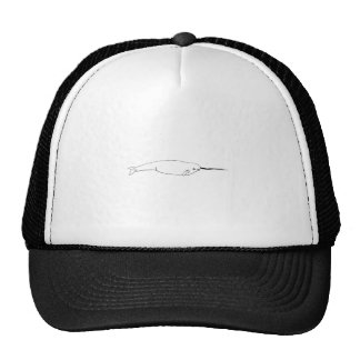 Narwhal (line art illustration) trucker hat
