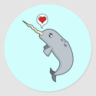 Narwhal Love Classic Round Sticker