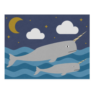 Narwhal Night Swim Postcard