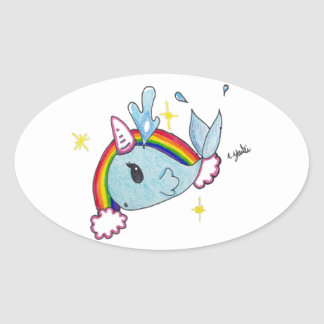 narwhal oval sticker