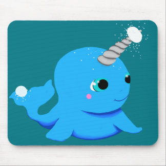 Narwhal snowball fight! mouse pad
