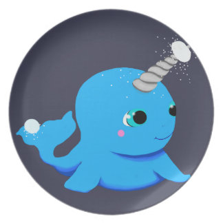Narwhal snowball fight! plate