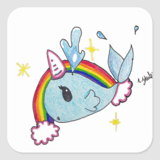 narwhal square sticker