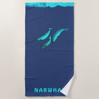 Narwhal Under The Ice Beach Towel