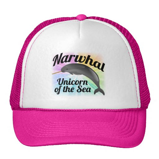 Narwhal Unicorn of the Sea, Cute Rainbow Trucker Hats