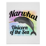 Narwhal Unicorn of the Sea, Cute Rainbow Posters