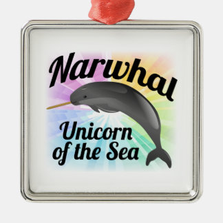 Narwhal Unicorn of the Sea, Cute Rainbow Silver-Colored Square Ornament