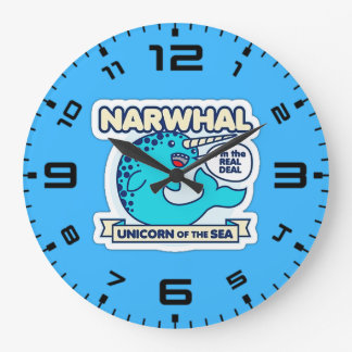 Narwhal Unicorn Of The Sea Large Clock