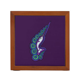 Narwhal Waves Celtic Style Colorful Ink Drawing Desk Organizers