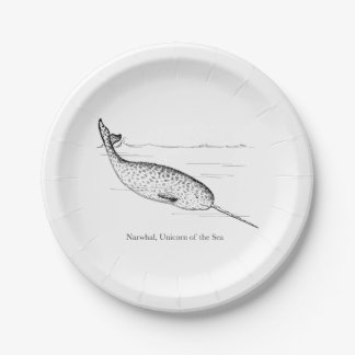 Narwhal Whale Unicorn of the Sea Paper Plate