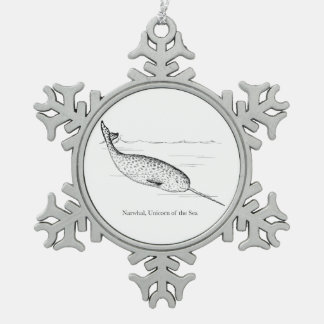 Narwhal Whale Unicorn of the Sea Snowflake Pewter Christmas Ornament
