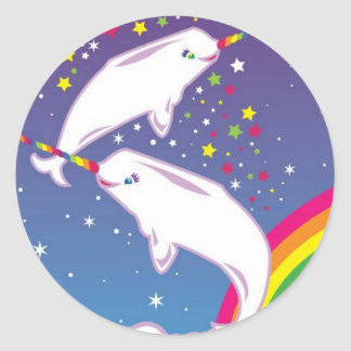 Narwhals and rainbows classic round sticker