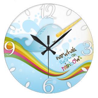 Narwhals Swim on Rainbows Large Clock