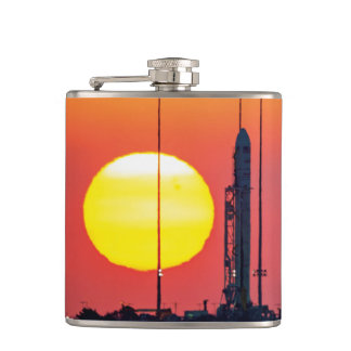 NASA Antares Rocket Sunrise Launch Hip Flask