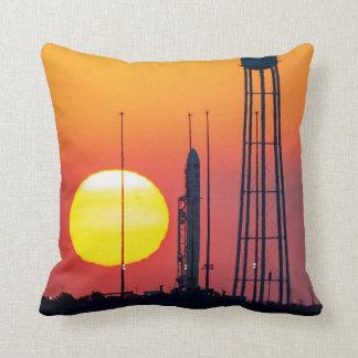 NASA Antares Rocket Sunrise Launch Throw Pillow