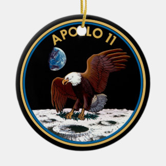 NASA Apollo 11 Moon Landing Lunar Patch Insignia Round Ceramic Ornament